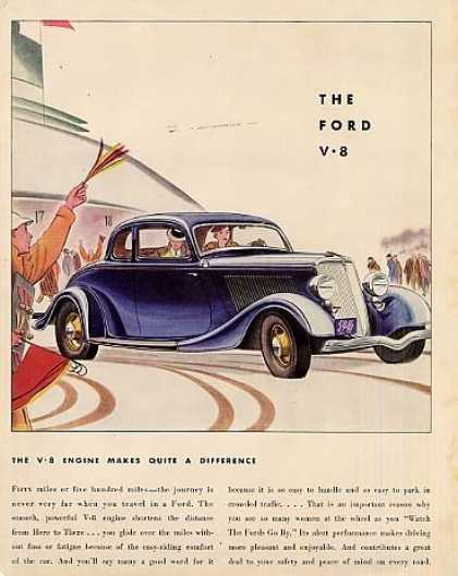 "Ford Car Color Ad ""The V-8 Engine Makes... (1934)"