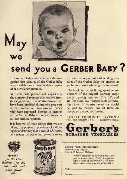 Gerber Products Division, Fremont Canning Company's Gerber Strained Vegetables – May We Send You a Gerber Baby? (1931)