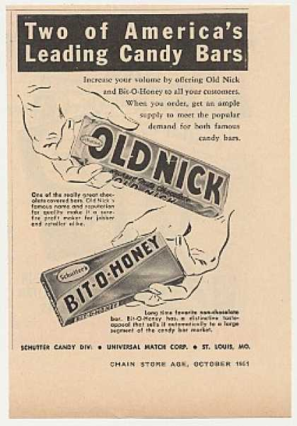 Schutter Old Nick Bit-O-Honey Candy Bars Trade (1951)