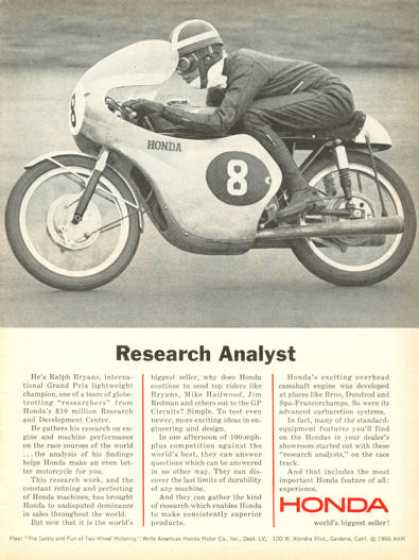 Honda Motorcycle Ralph Bryan Grand Prix Champ (1966)