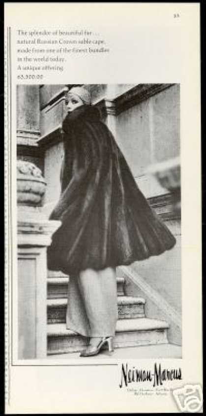 Neiman Marcus Russian Sable Fur Cape Photo (1973)