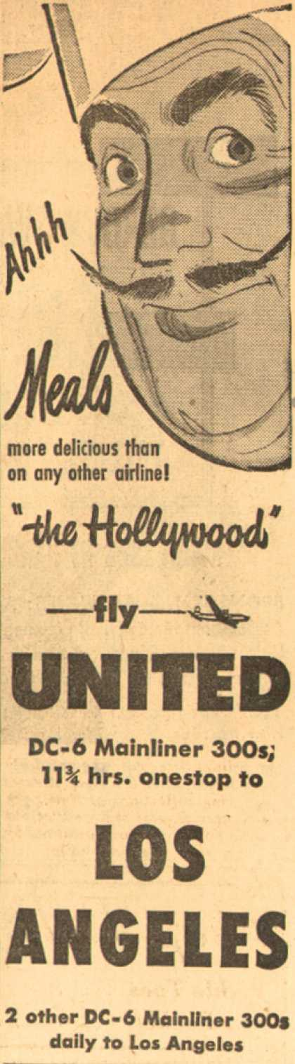 "United Air Line's Meals – Ahhh Meals more delicious than on any other airline! ""the Hollywood"" fly United (1949)"