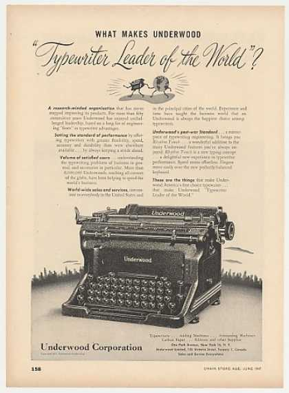 Underwood Typewriter Leader of the World (1947)