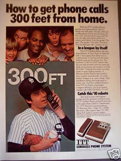 Itt Cordless Phone Telephone System Baseball (1982)