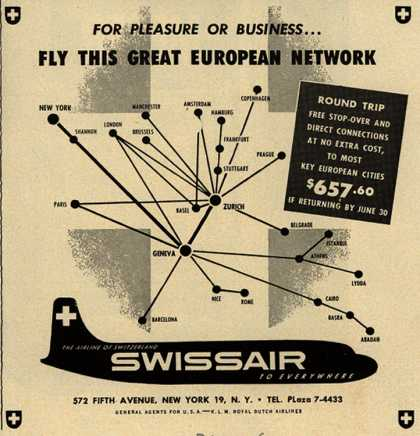 SwissAir's Europe – For Pleasure or Business... Fly this Great European Network (1951)
