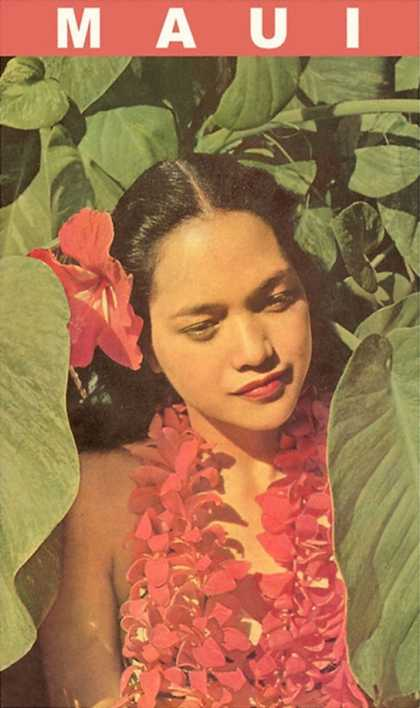 Maui, Hawaiian Girl in Taro Leaves with Lei