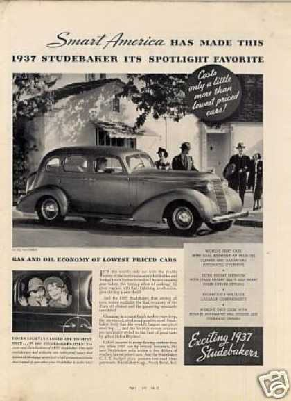 "Studebaker Car Ad ""Smart America Has Made... (1937)"