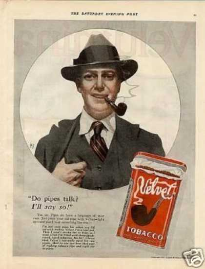 "Velvet Tobacco Color Ad ""Do Pipes Talk?... (1921)"