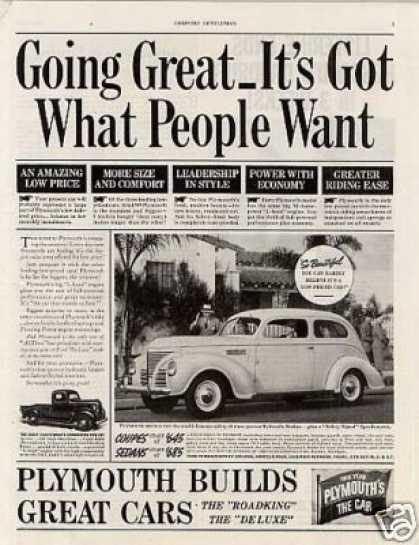 "Plymouth Car Ad ""Going Great... (1939)"