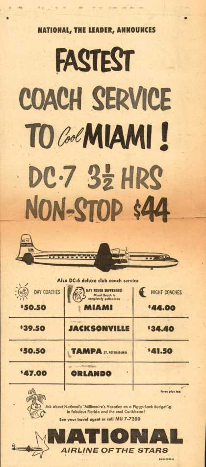 National Airline's Miami – Fastest Coach Service to Cool Miami (1954)