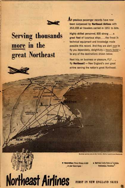 Northeast Airlines – Serving thousands more in the great Northeast (1951)