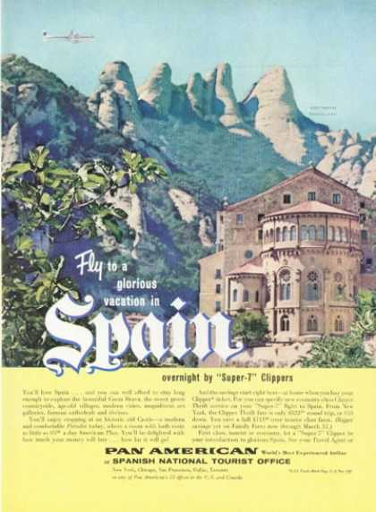 Pan Am Airline Costa Brava Spain Castle (1958)
