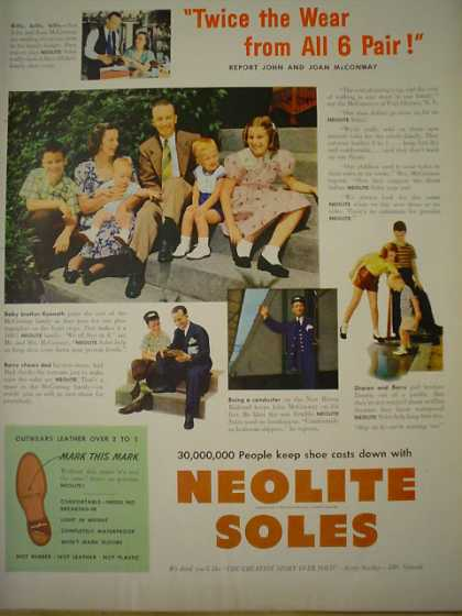 Neolite Soles shoes Twice the wear from all 6 pair (1949)