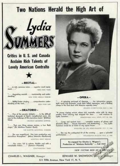 Lydia Summers Photo Opera/recital/o (1947)