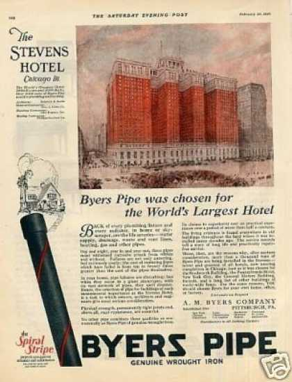 Byers Pipe Color Ad Stevens Hotel, Chicago (1926)