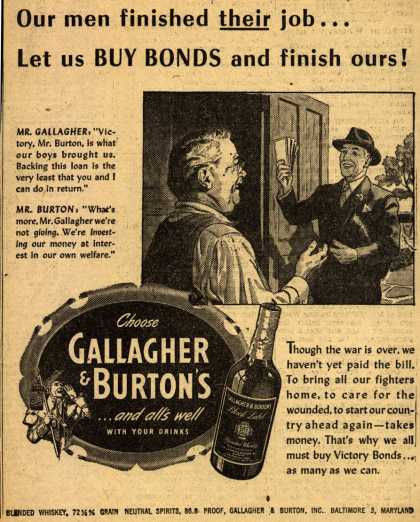 Gallagher & Burton's Victory Bonds – Our men finished their job... Let us Buy Bonds and finish ours (1945)