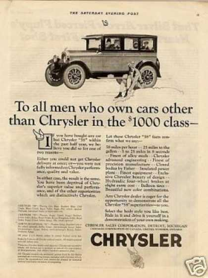 "Chrysler Car Ad ""To All Men Who... (1926)"