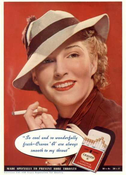 Craven A, Womens Hats Cigarettes Smoking Clothing Clothes, USA (1936)