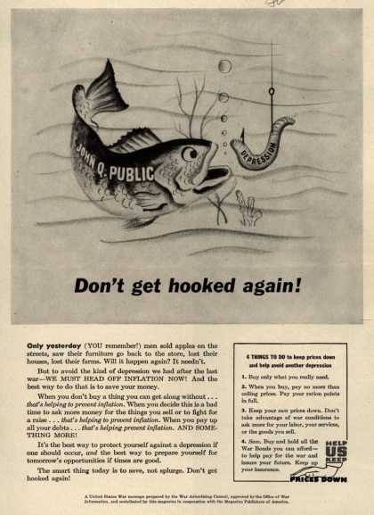 War Advertising Council's Anti-inflation – Don't get hooked again (1945)