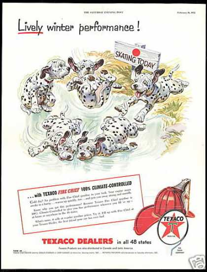 Dalmatian Dog Puppies Skating Texaco Gas (1955)