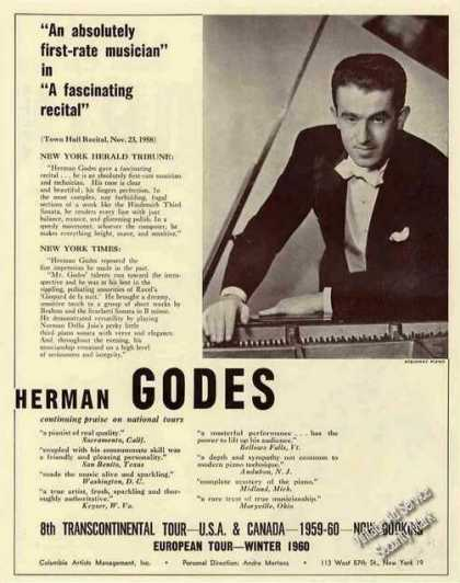 Herman Godes Photo Pianist Booking (1959)
