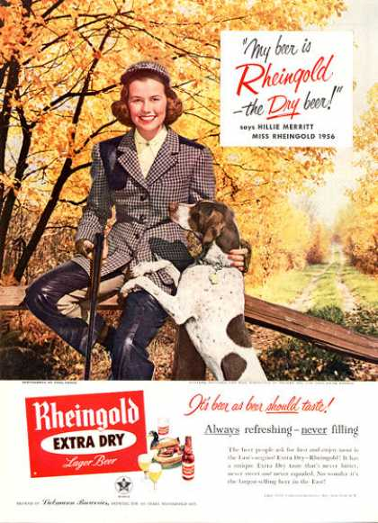 Miss Rheingold Beer Bird Hunting Pointer Dog (1956)