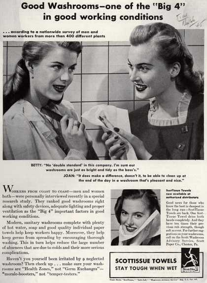 "Scott Paper Company's ScotTissue Towels – Good Washrooms – one of the ""Big 4"" in good working conditions (1945)"