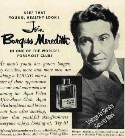 Burgess Meredith Photo Aqua Velva (1950)