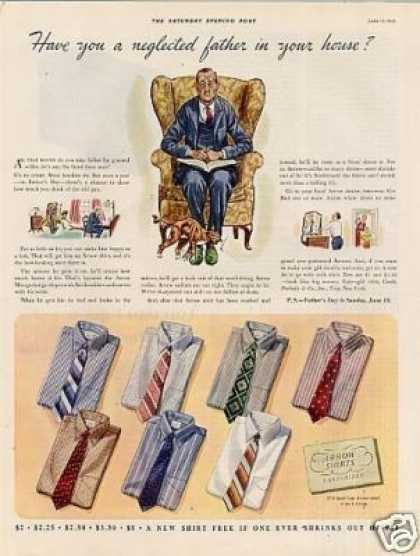 """Arrow Shirts Ad """"Have You Neglected... (1939)"""