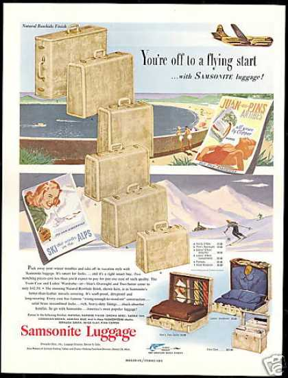 Samsonite Luggage Natural Rawhide Finish (1951)