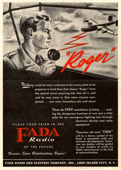 "Fada Radio and Electric Company's Radio – ""Roger"" (1945)"