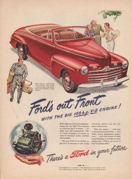 Ford Cars Are Out Front Big 100 Hp V8 Engi (1946)