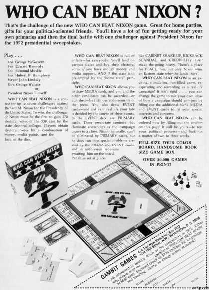 Gambit Game's Who Can Beat Nixon Game (1971)
