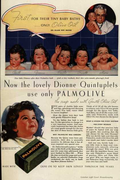 Palmolive Company's Palmolive Soap – Now the lovely Dionne Quintuplets use only PALMOLIVE (1936)