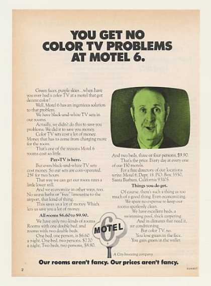 You Get No Color TV Problems at Motel 6 (1974)
