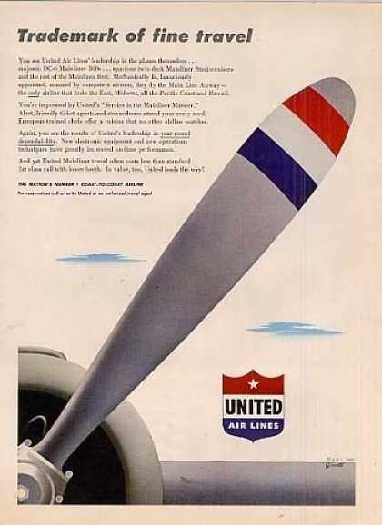 "United Air Lines Ad ""Trademark Of... (1950)"