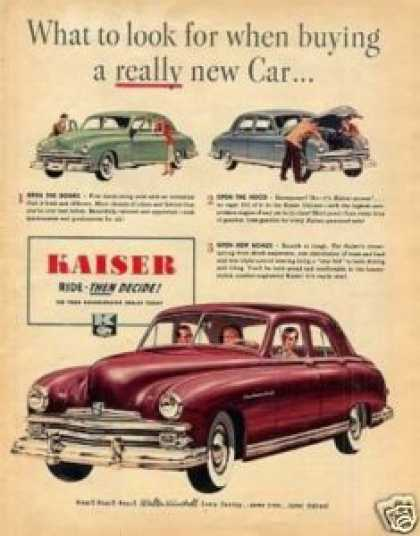 "Kaiser Car Ad ""What To Look For... (1949)"