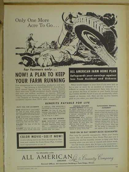 All American Life and Casualty Co. A plan to keep your farm running (1959)