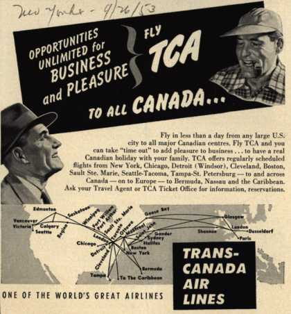 Trans-Canada Air Line's Canada – Opportunities Unlimited for Business and Pleasure-Fly TCA To All Canada... (1953)