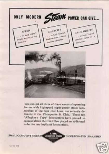 Lima Locomotive Ad Chesapeake & Ohio 2-6-6-6 (1942)