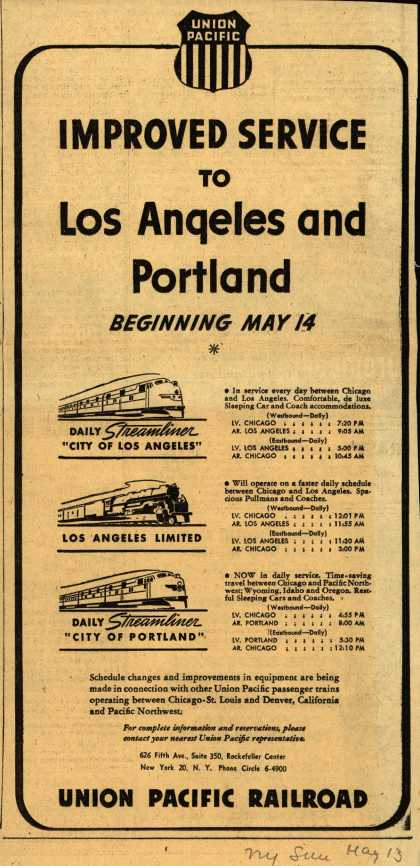Union Pacific Railroad's Los Angeles and Portland – Improved Service to Los Angeles and Portland Beginning May 14 (1947)