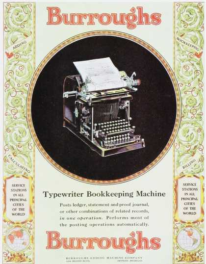 Burroughs Typewriter Bookkeeping Machine