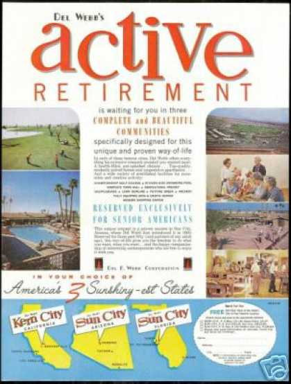 Del Webb Kern Sun City Retirement Vintage Photo (1962)