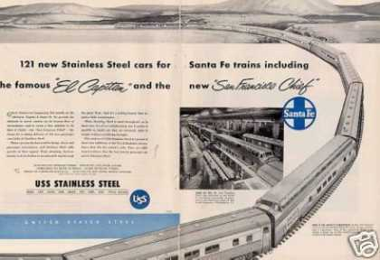 "Us Steel 2 Page Ad Santa Fe ""El Capitan""/sf Chief (1954)"