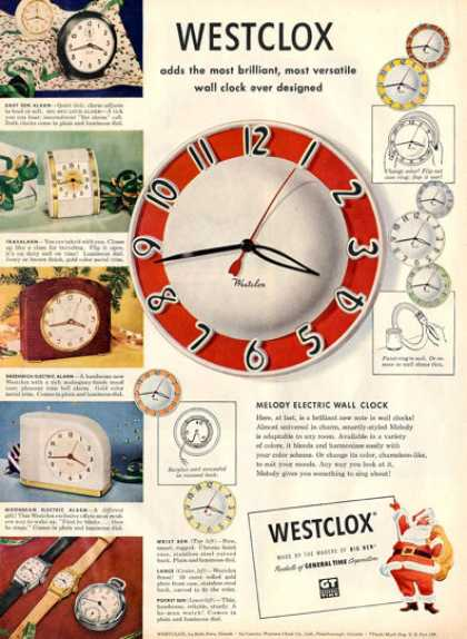 Westclox Alarm Clock Wrist Watch Ad T (1950)