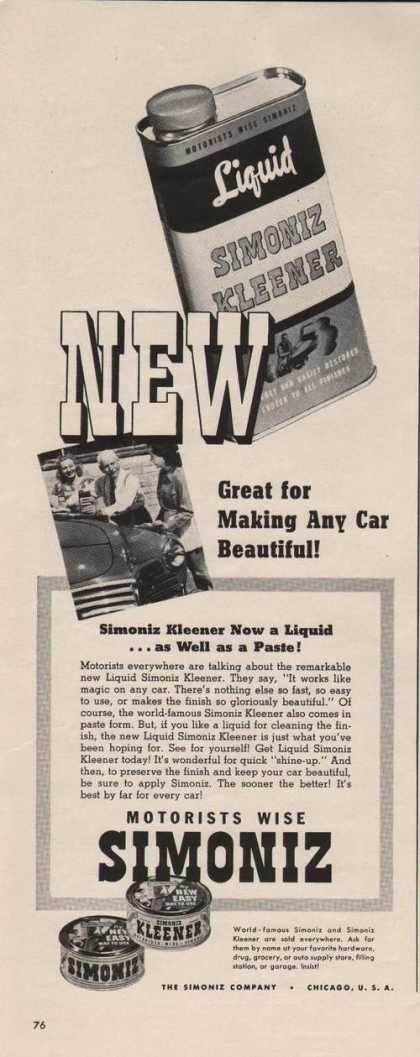 Any Car Beautiful Simoniz Liquid Cleaner A (1941)