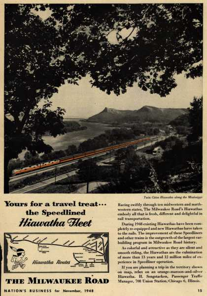 Milwaukee Road's Hiawatha Fleet – Yours for a travel treat...the Speedlined Hiawatha Fleet (1948)