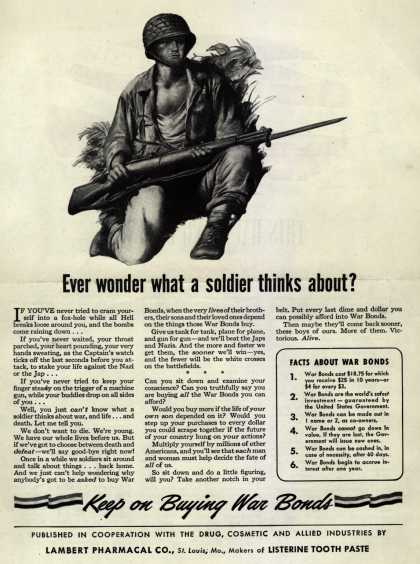 U. S. Government's War Bonds – Ever wonder what a soldier thinks about? (1943)