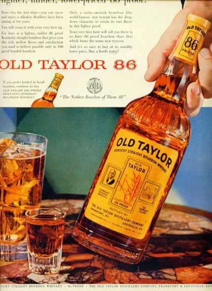 Old Taylor Kentucky Straight Bourbon Whiskey C (1960)