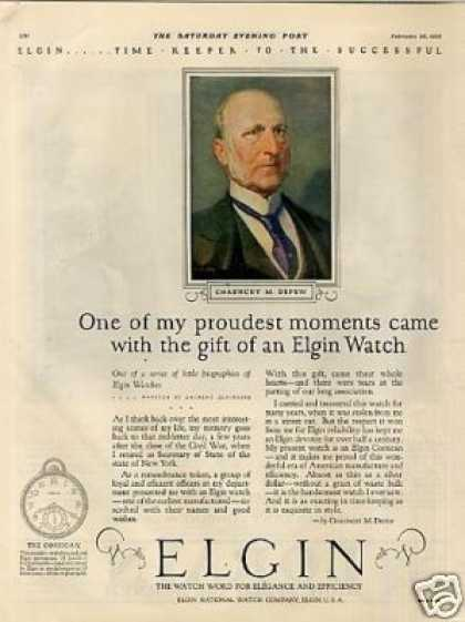 Elgin Watch Color Ad Chauncey M. Depew (1925)